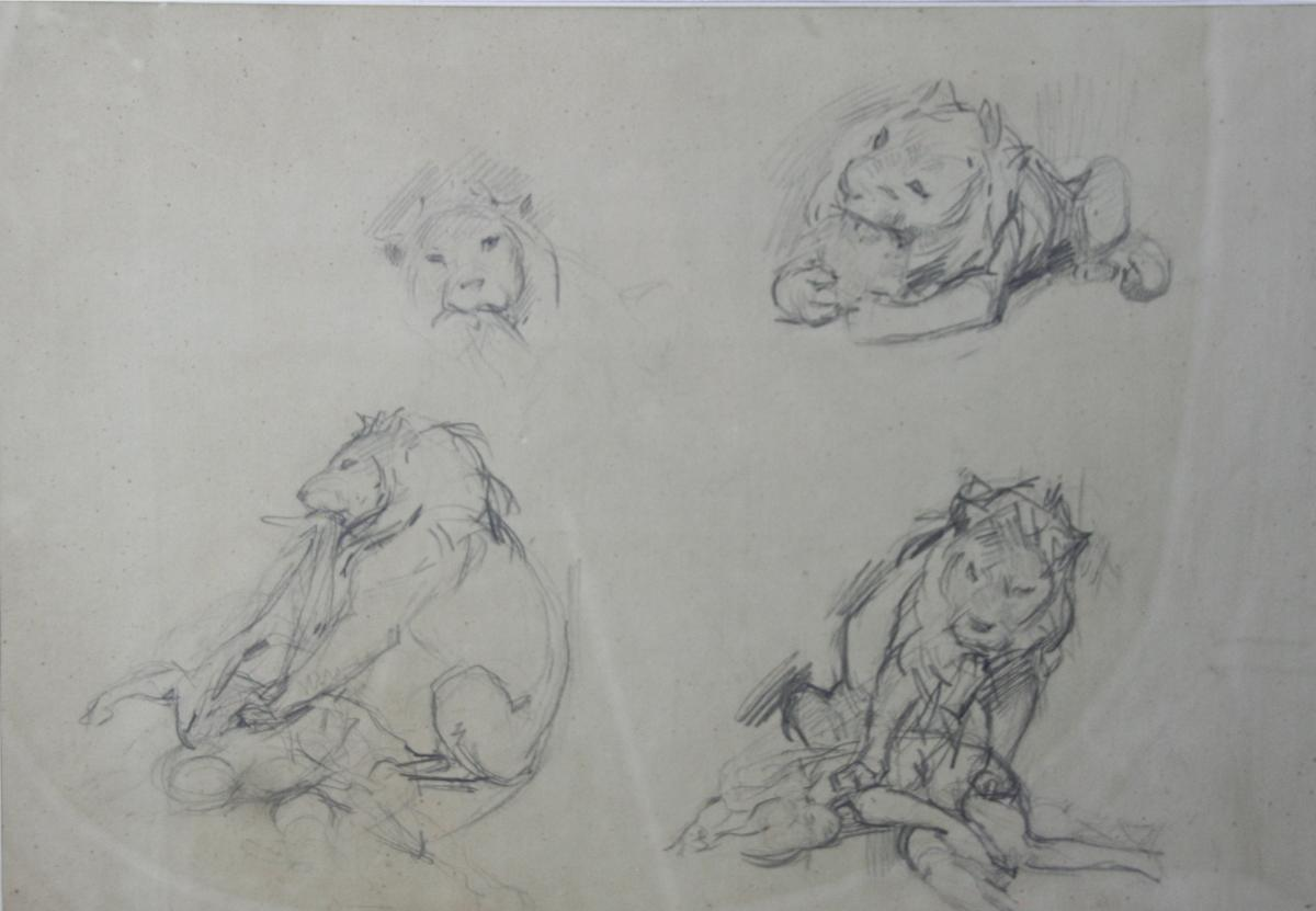 "Drawing Of Victor Prouvé ""lion Devouring An Antillope"""