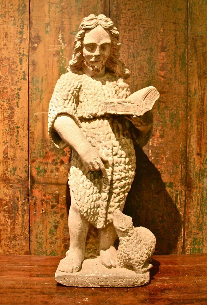 Saint Jean-Baptiste d'époque XVIIème En Pierre Calcaire