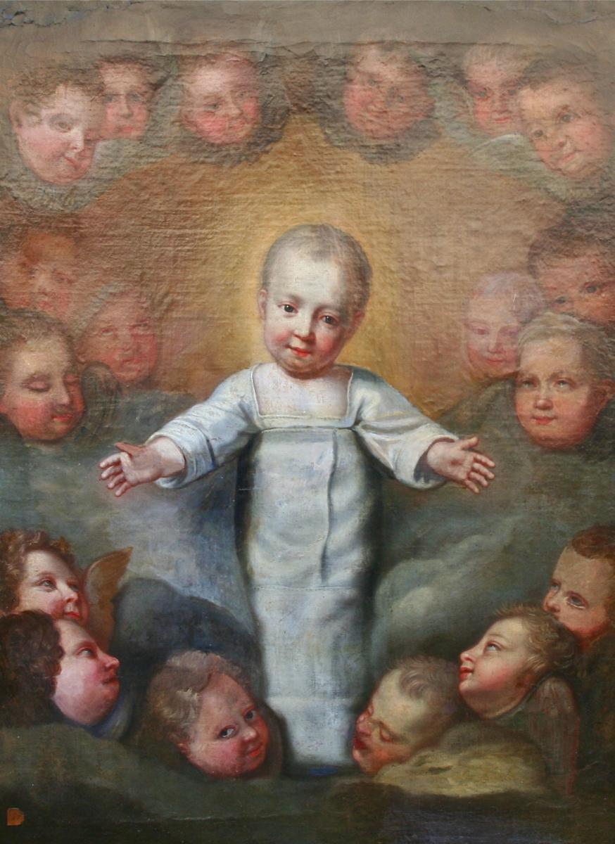 """Peinture XVIIIème,"""" Enfant Au Paradis Parmi Les Anges"""""""