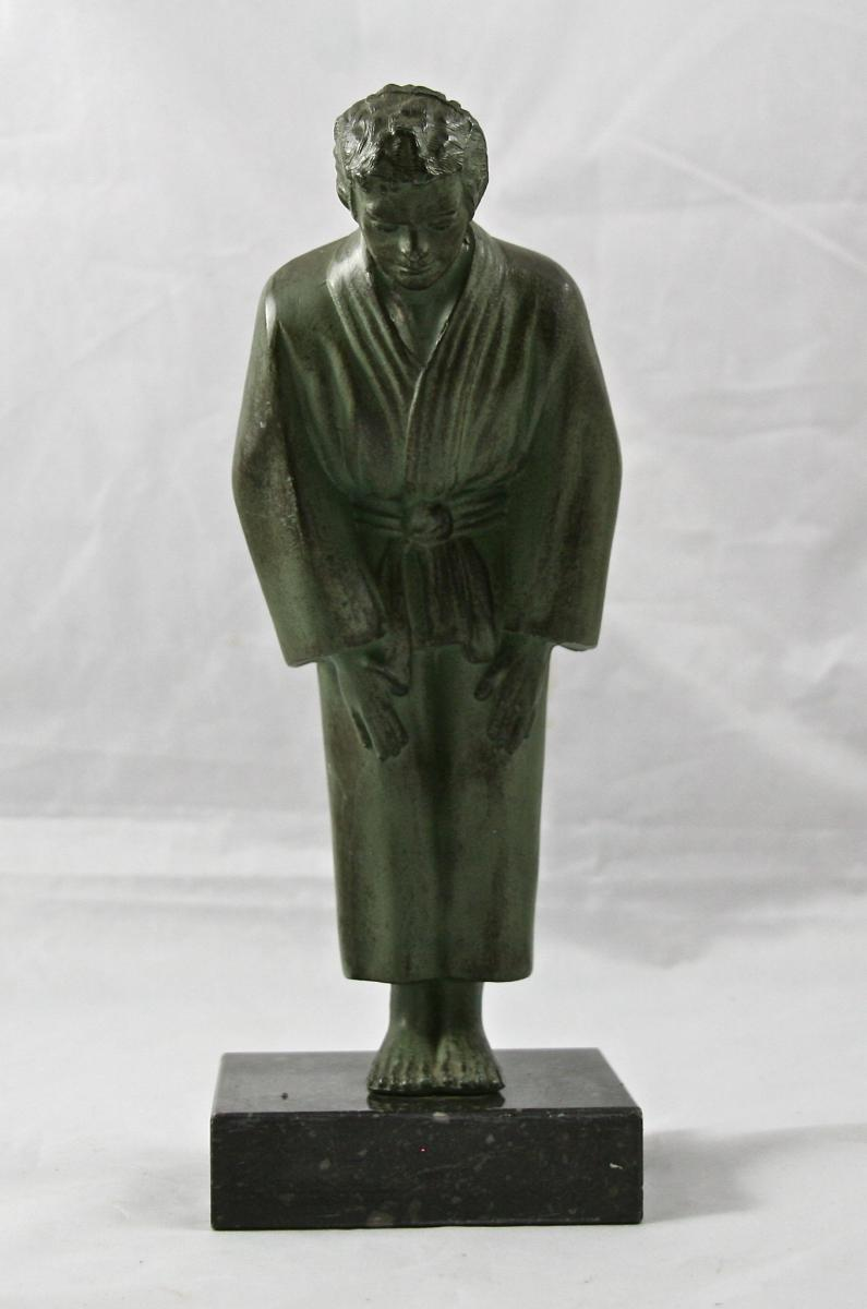 """Bronze XXème """"judoka"""" Sur Socle De Marbre"""