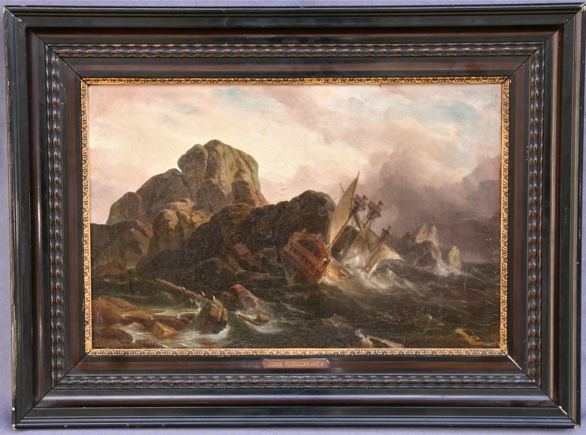 """Peinture XIXème """"naufrage De Navire"""" Par C. L. Verboeckhoven"""
