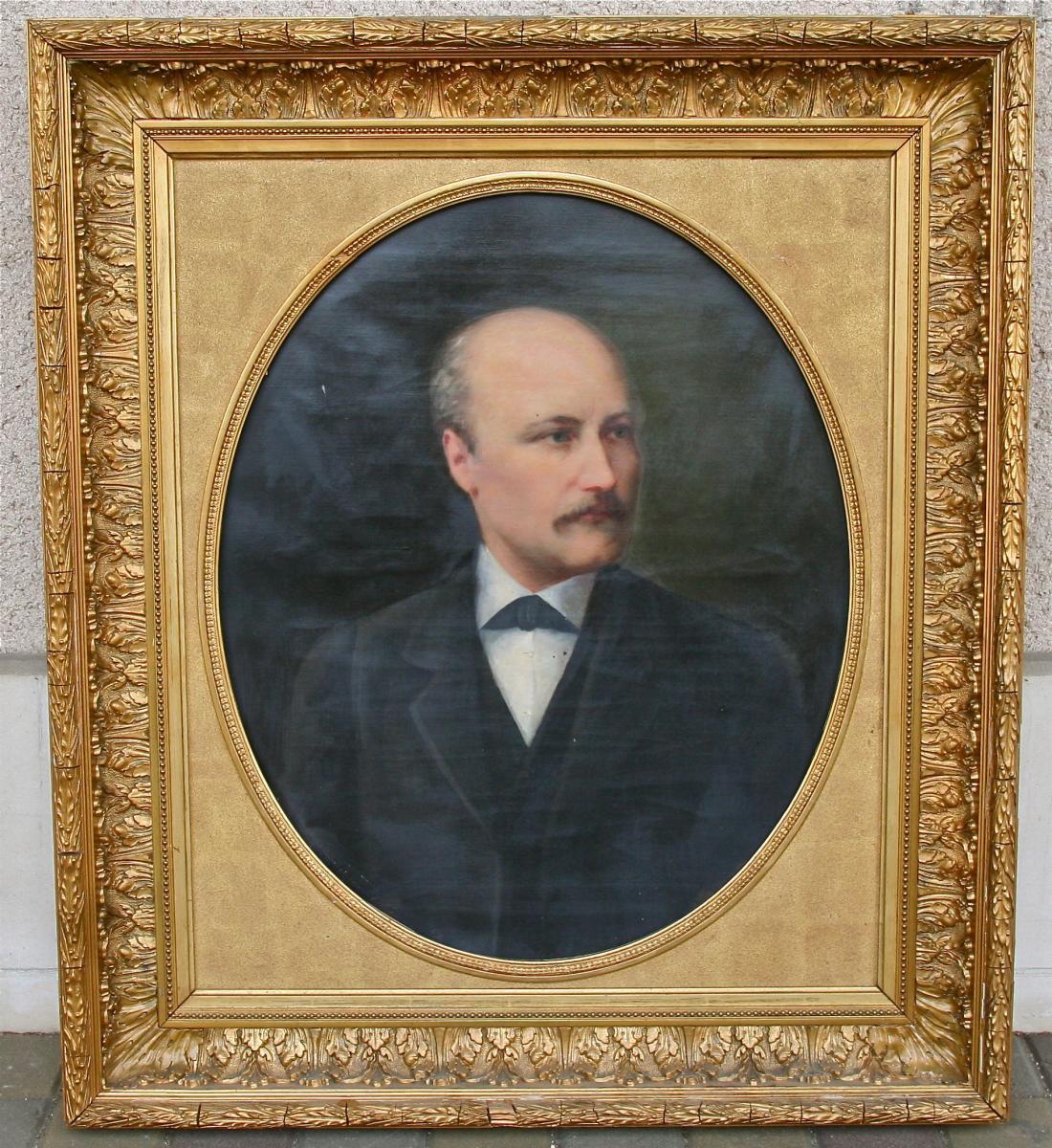 Peinture XIXème Portrait d'Homme Encadrement Doré