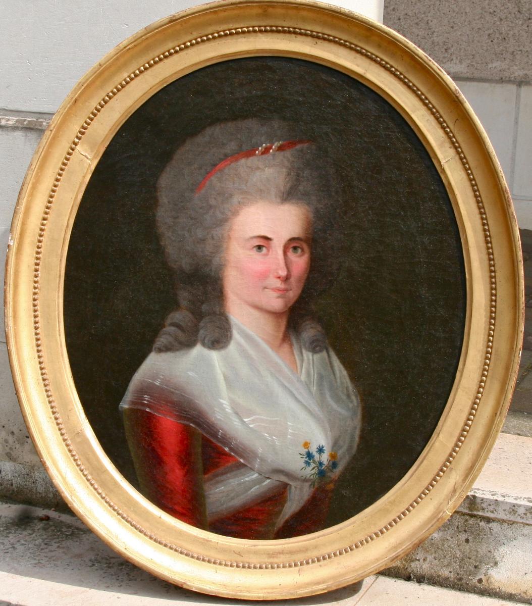 """Peinture Ovale XVIIIème """"portrait De femme élégante"""" - Tableaux portraits"""