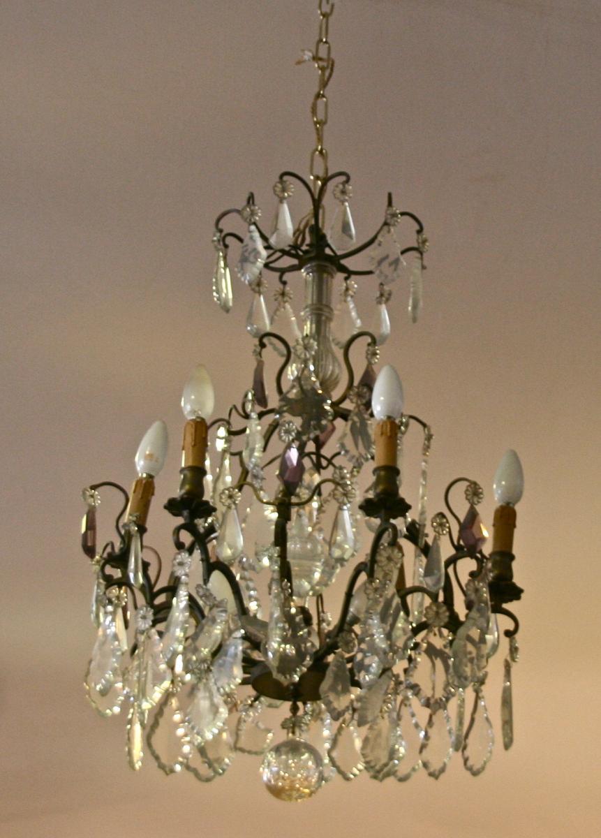 Lustre XIXème 9 Lumières à Panpilles En Bronze