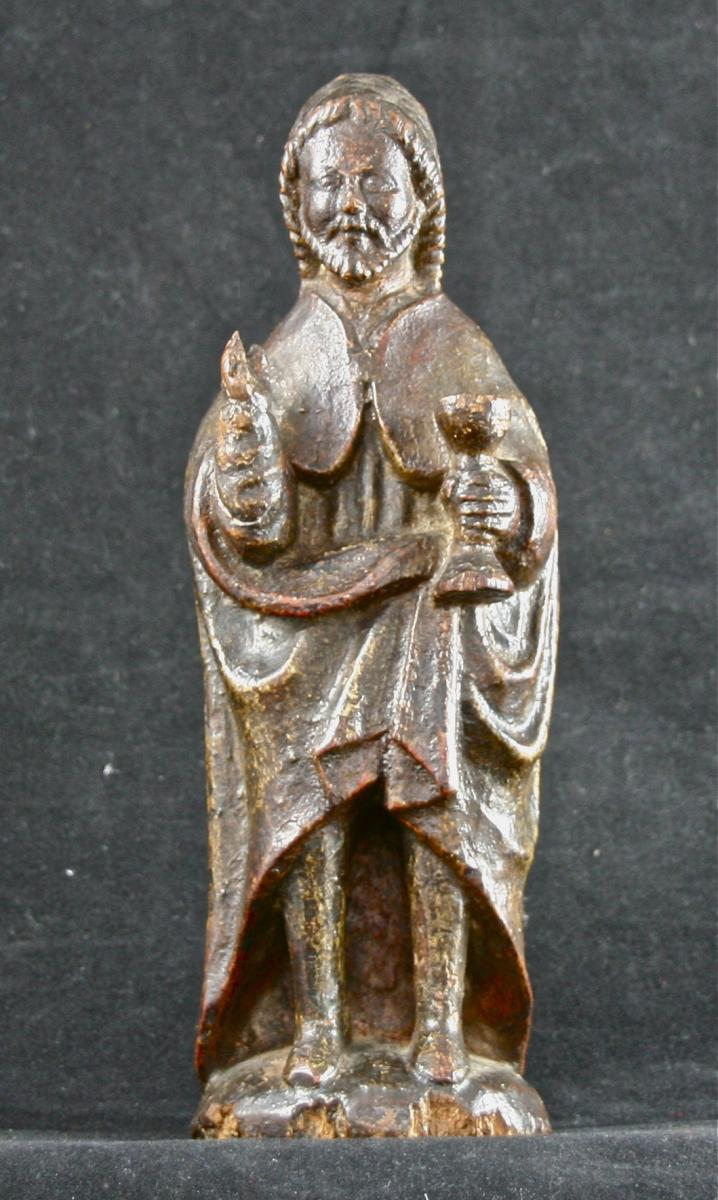 17th Century Statue Of Saint In Polychrome Wood