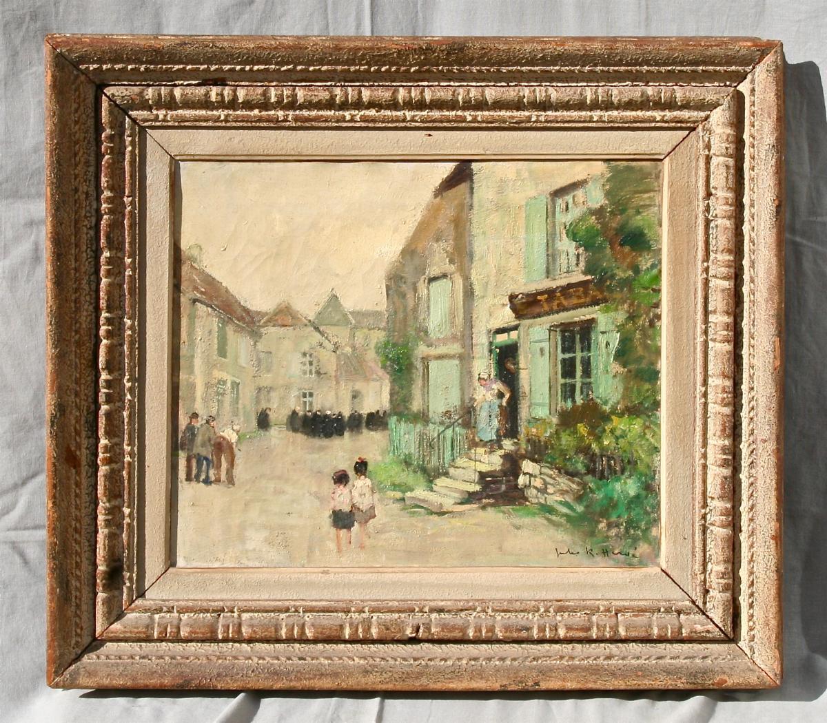 "Peinture ""village Animé"" De Jules-René Hervé"