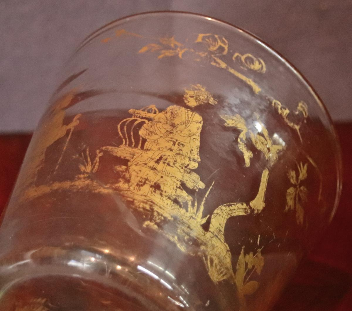 Vase Cache-Pot En Verre XIXème Décoré A l'Or