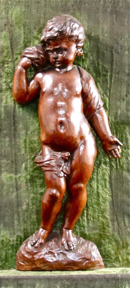 Putto XVIIIème En Bois Sculpté