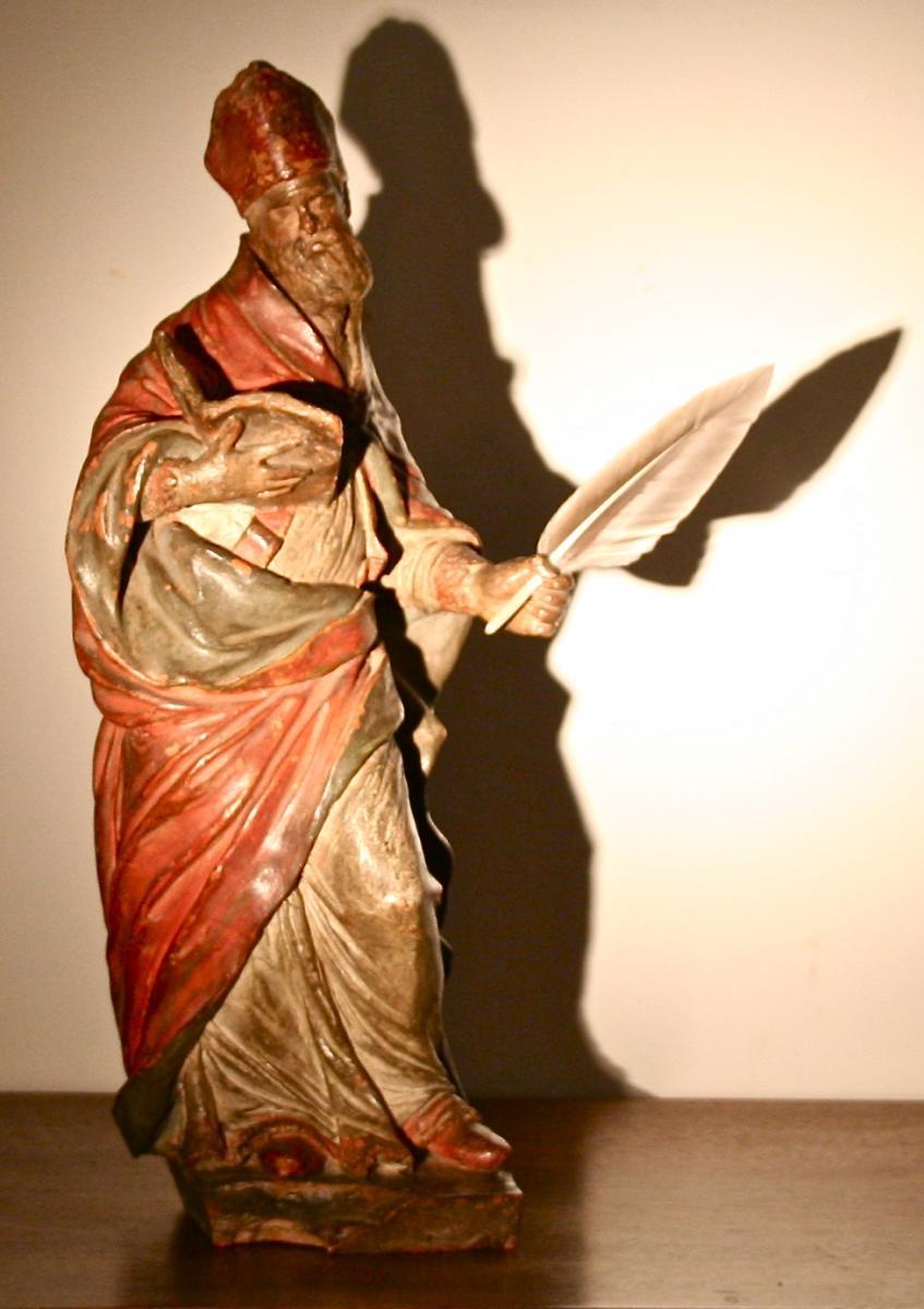 Italian Saint Luke In Terra Cotta Polychrome Eighteenth