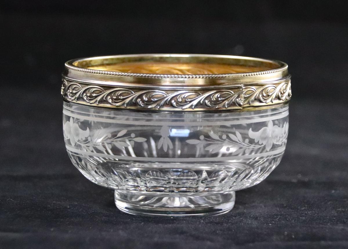 coupe XIXème en cristal et vermeil