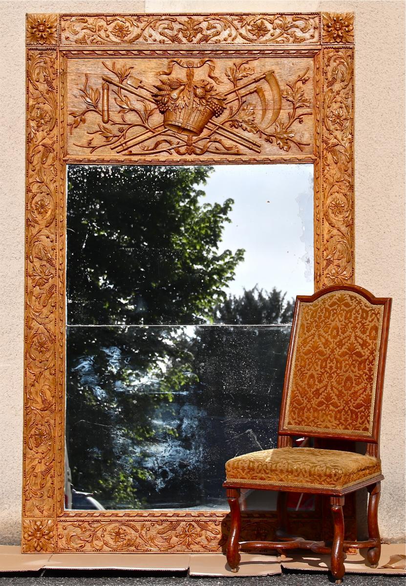 18th Century Trumeau In Carved Oak