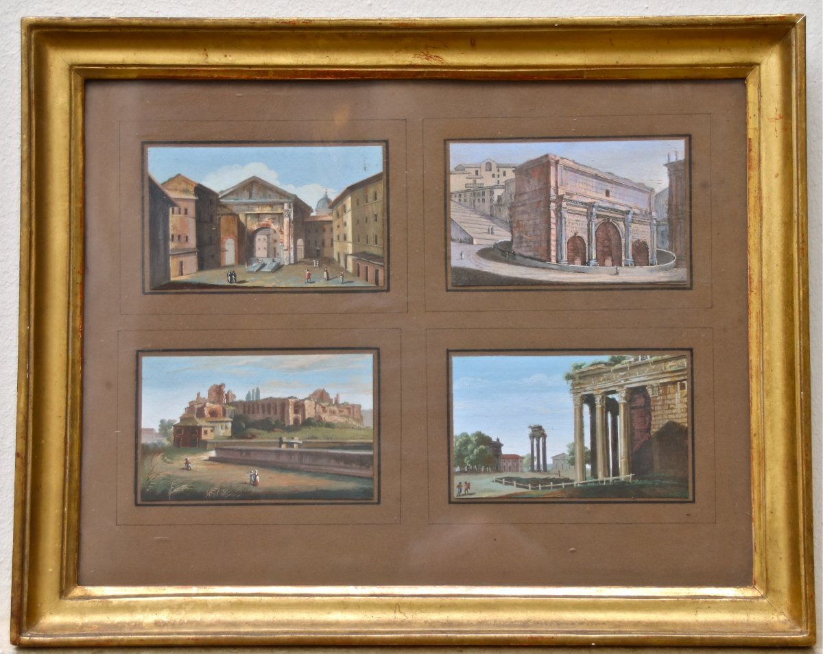 Gouache Nineteenth View Of Rome