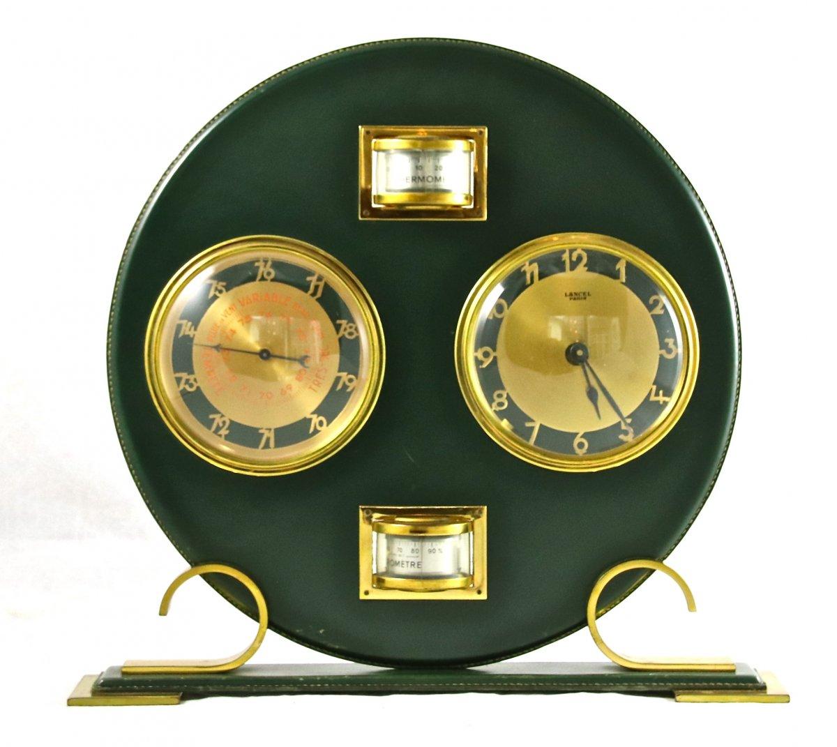 Lancel, Pendule Thermomètre Baromètre En Cuir 1950