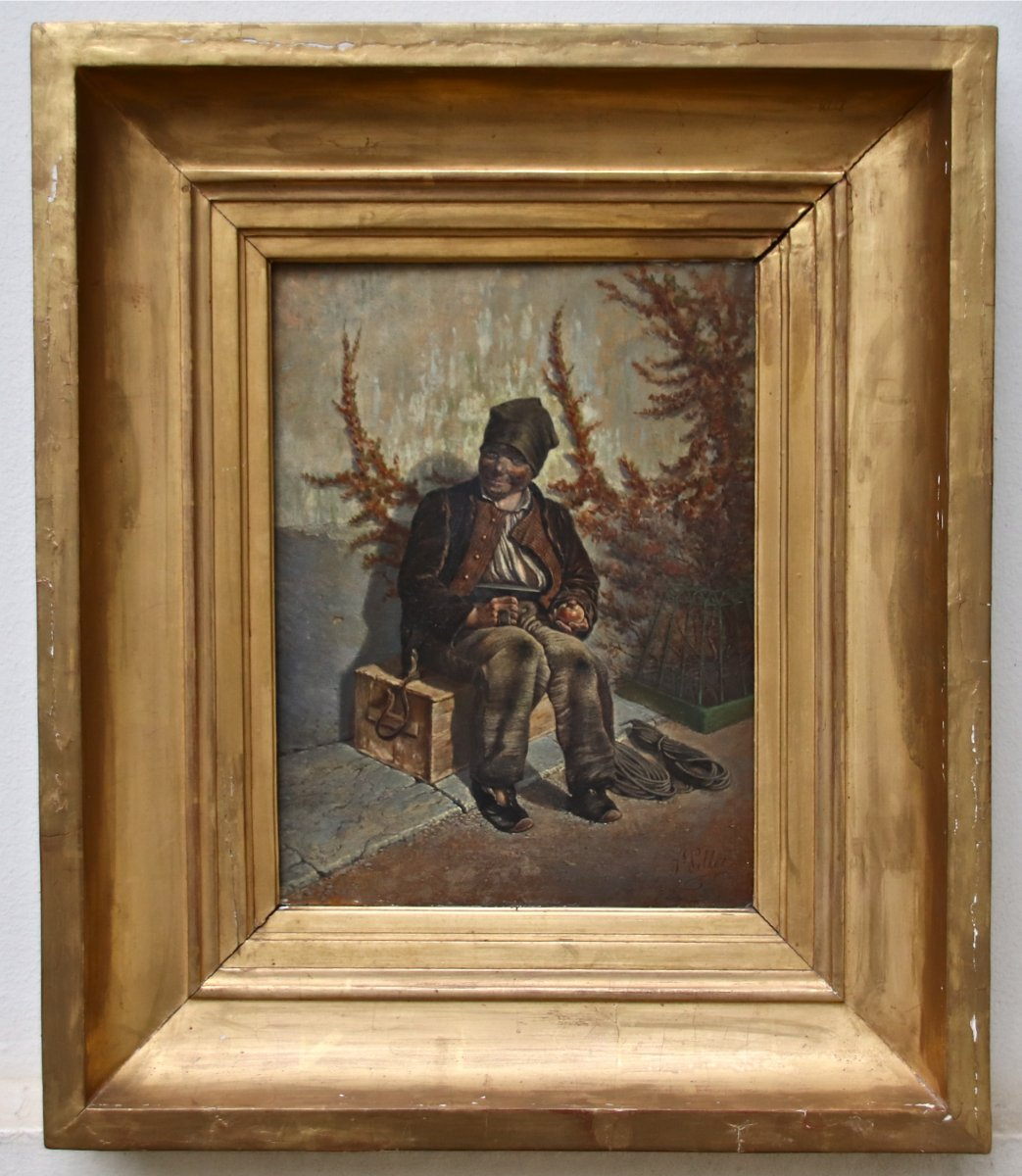 Peinture XIXème Le Jeune Ramoneur De J. Pellet
