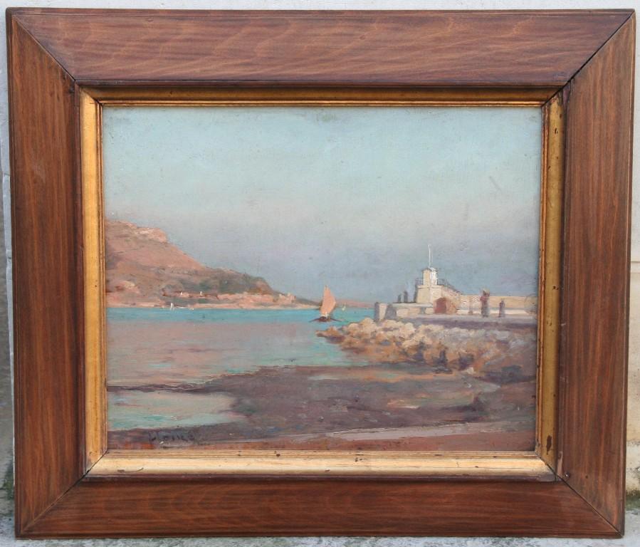 """Huile Sur Panneau """"port Méditerranéen"""" D'Alexandre Houzé"""
