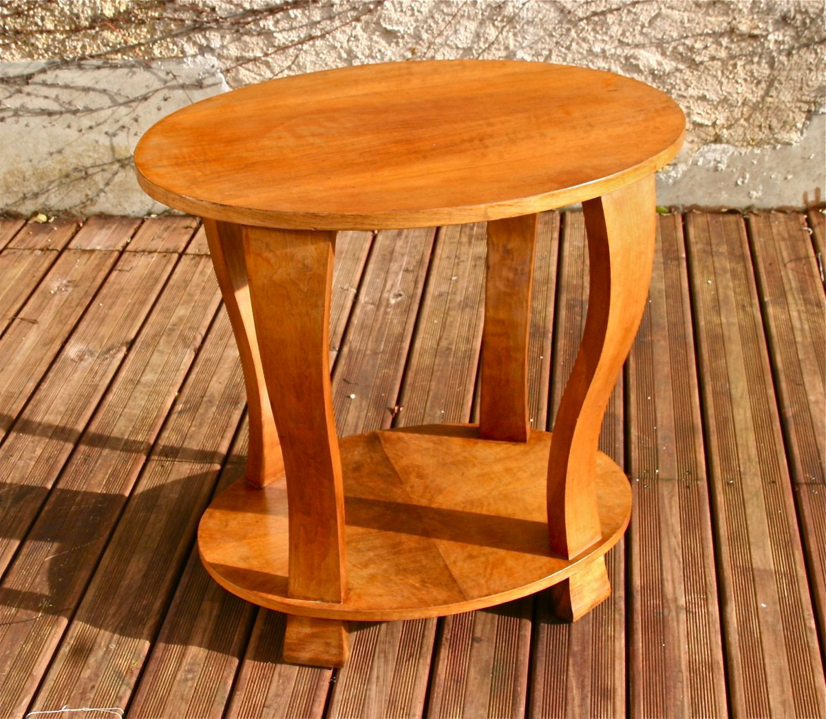 Art Deco Pedestal Table In Walnut