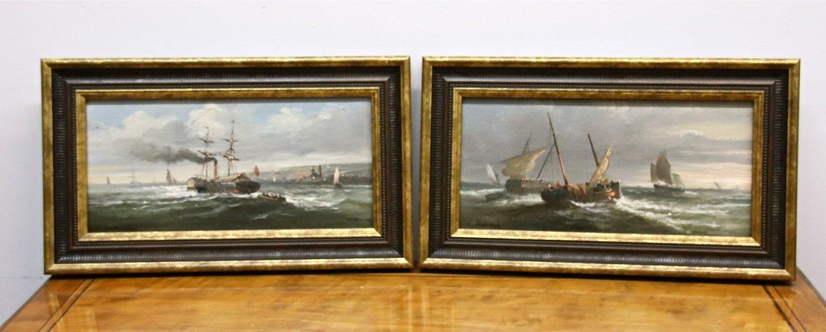 Paire De Peinture Marine XIXème d'Émile Paul Alfred Dumont
