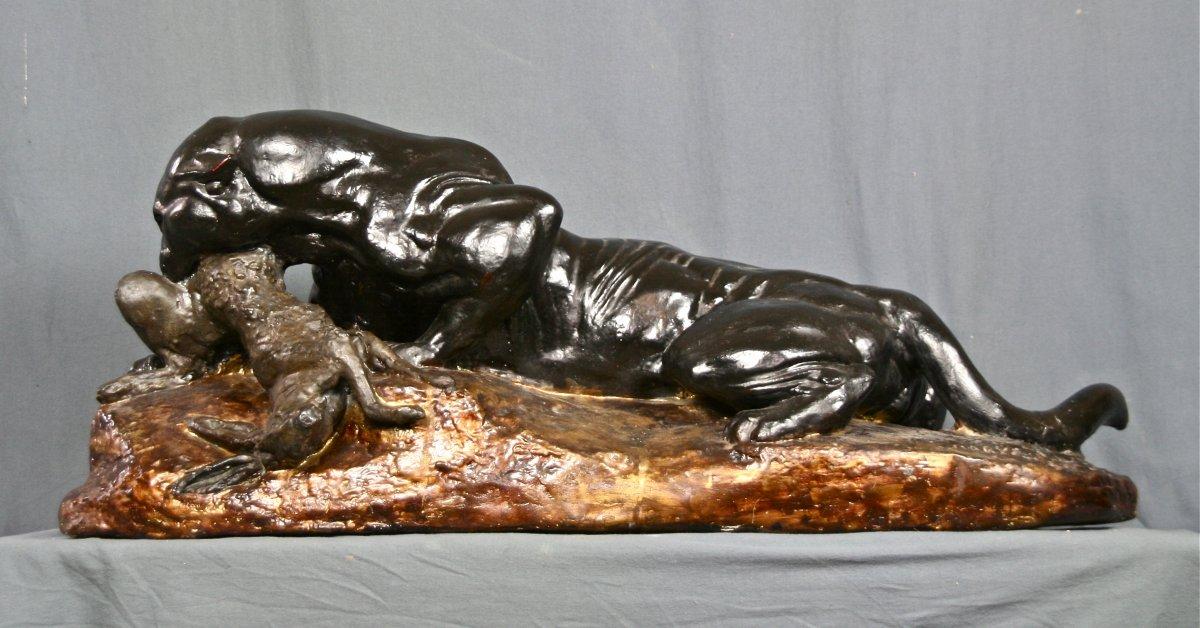 Grande Panthère Dévorant Un Lièvre XIXème En Plâtre De Barye