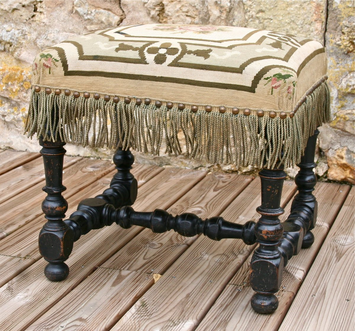 Louis XIV Stool From Eighteenth Period In Blackened Wood