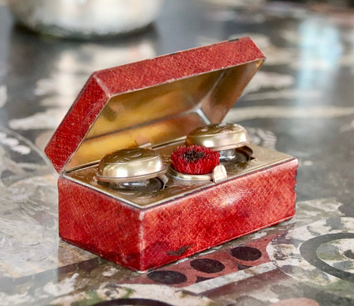Nineteenth Inkwell In Red Morocco