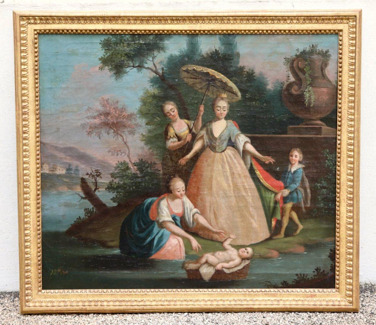 Peinture XVIIIème Moïse sauvé  Des Eaux
