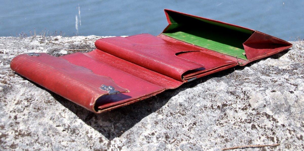 Pochette Souvenir XIXème En Maroquin Rouge -photo-1
