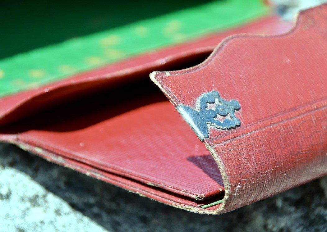 Pochette Souvenir XIXème En Maroquin Rouge -photo-3