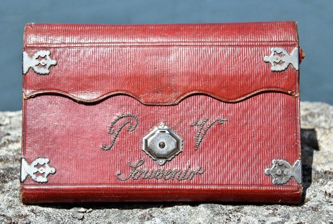 Pochette Souvenir XIXème En Maroquin Rouge -photo-5
