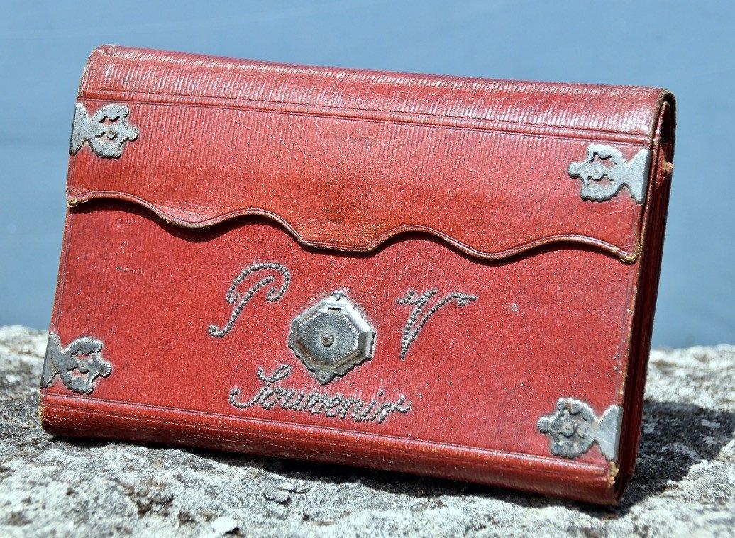 Pochette Souvenir XIXème En Maroquin Rouge