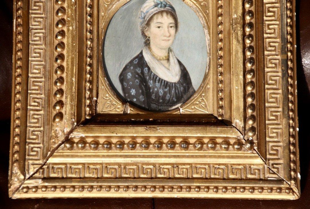 Peinture Portrait Miniature XIXème De Femme Au Collier-photo-1