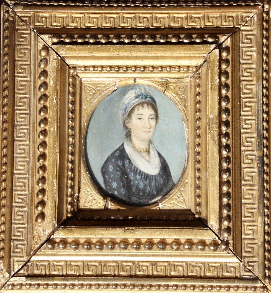 Peinture Portrait Miniature XIXème De Femme Au Collier-photo-2