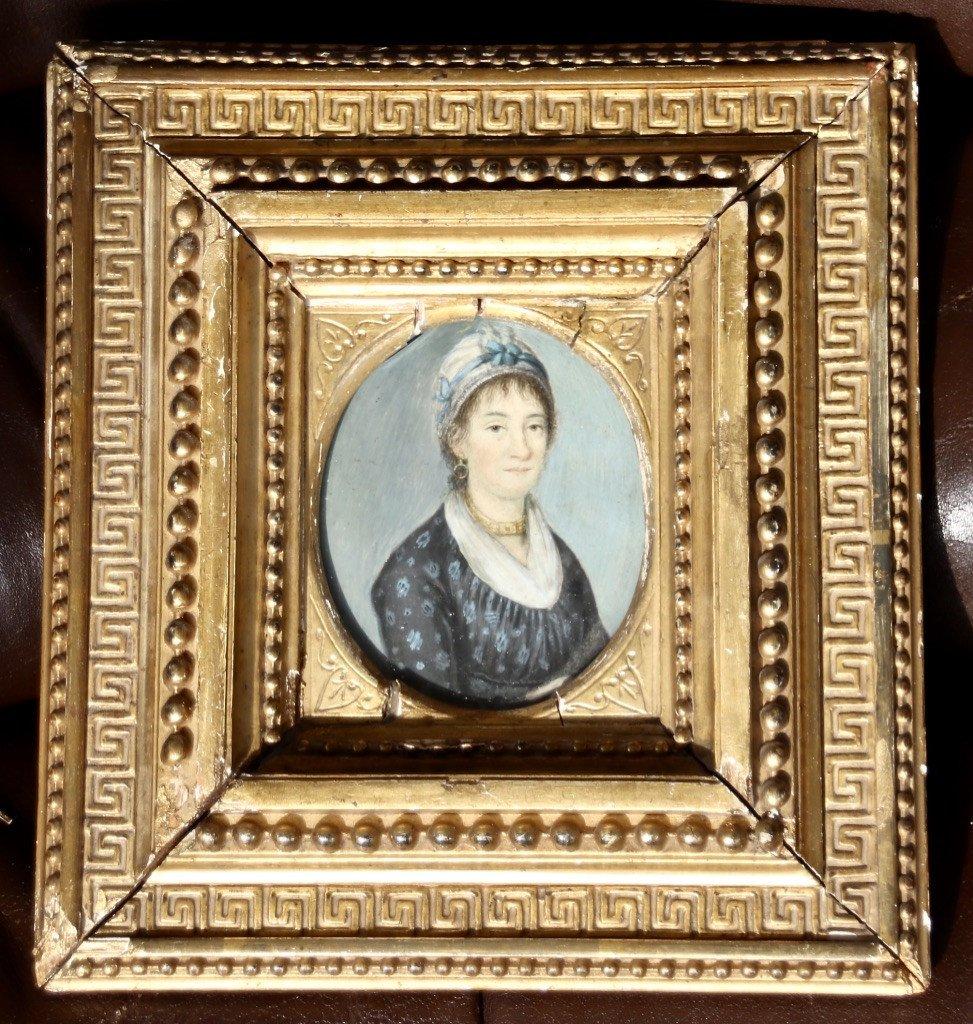 Peinture Portrait Miniature XIXème De Femme Au Collier