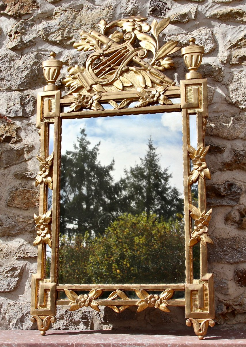 18th Century Louis XVI Style Parclose Mirror In Golden Wood