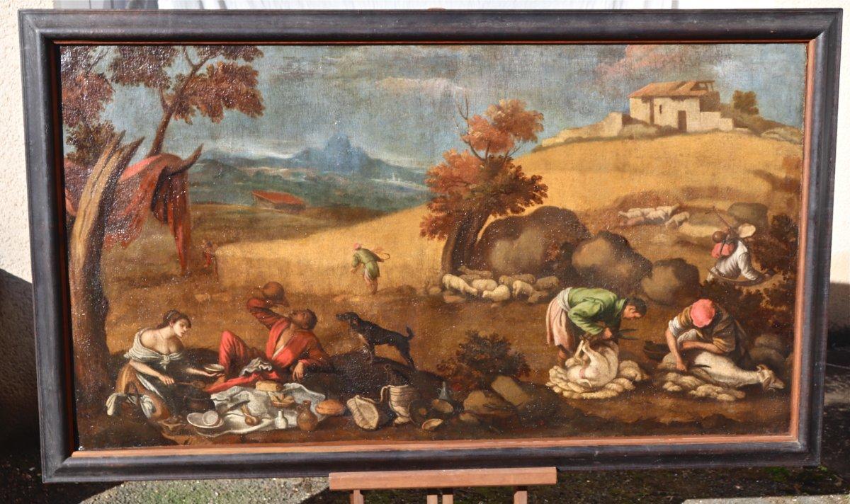 Grande Peinture XVIIème école De Francesco Bassano La Tonte Des Moutons-photo-4