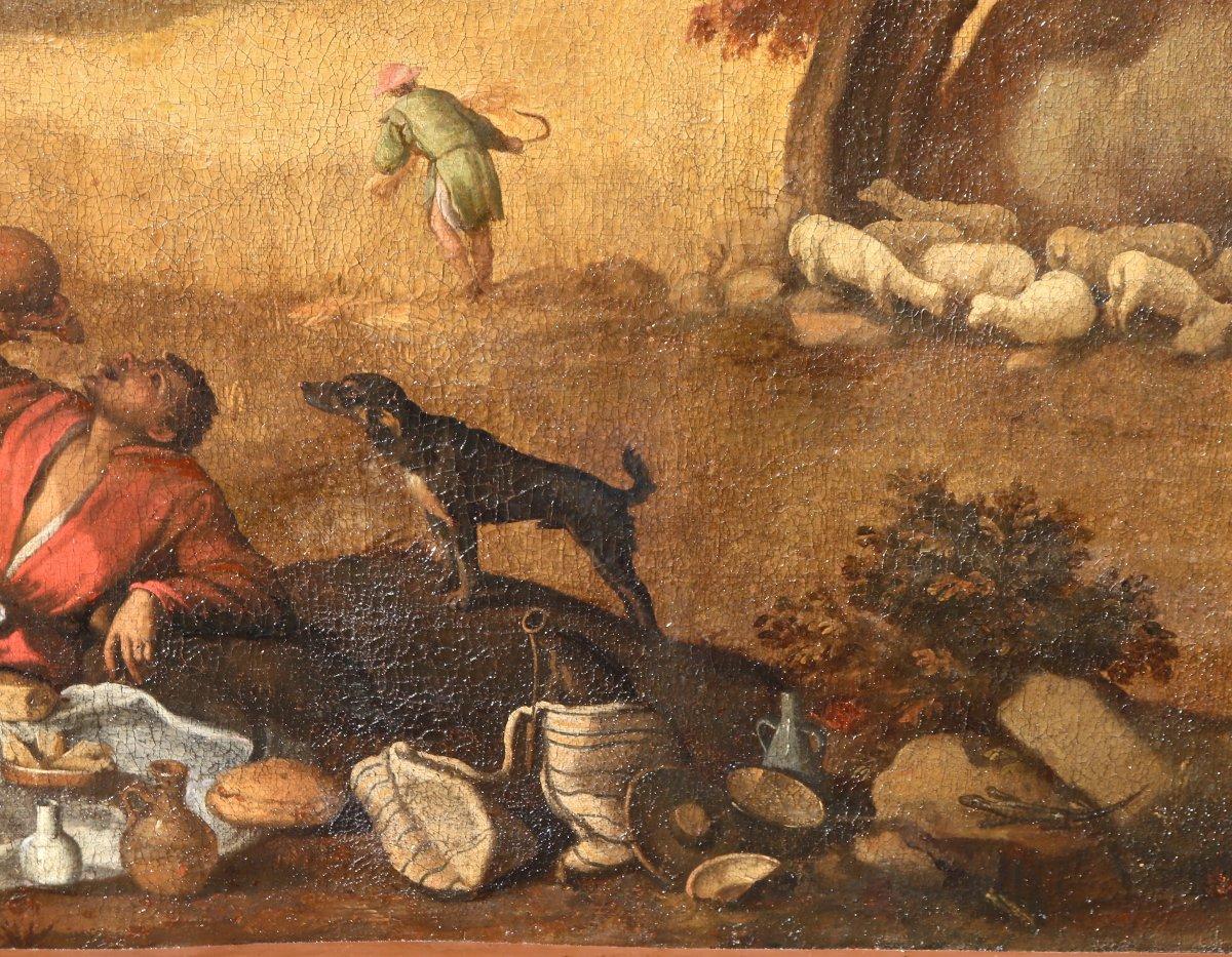 Grande Peinture XVIIème école De Francesco Bassano La Tonte Des Moutons-photo-1