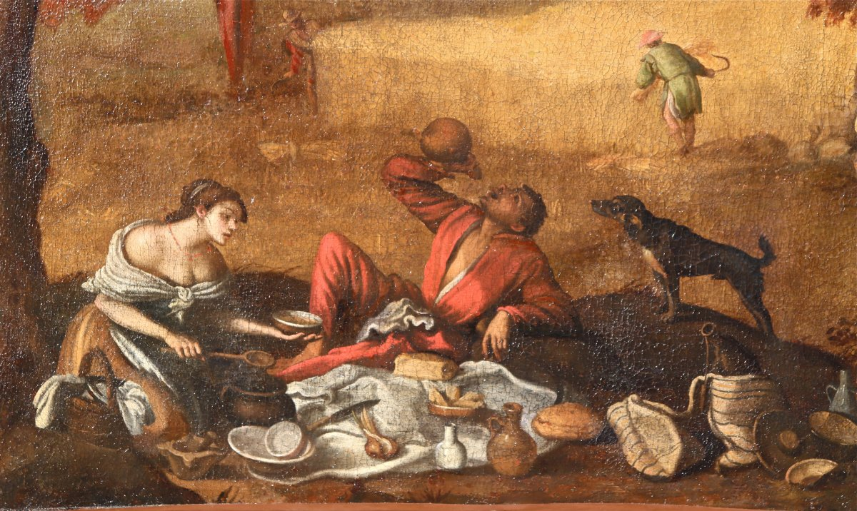 Grande Peinture XVIIème école De Francesco Bassano La Tonte Des Moutons-photo-2