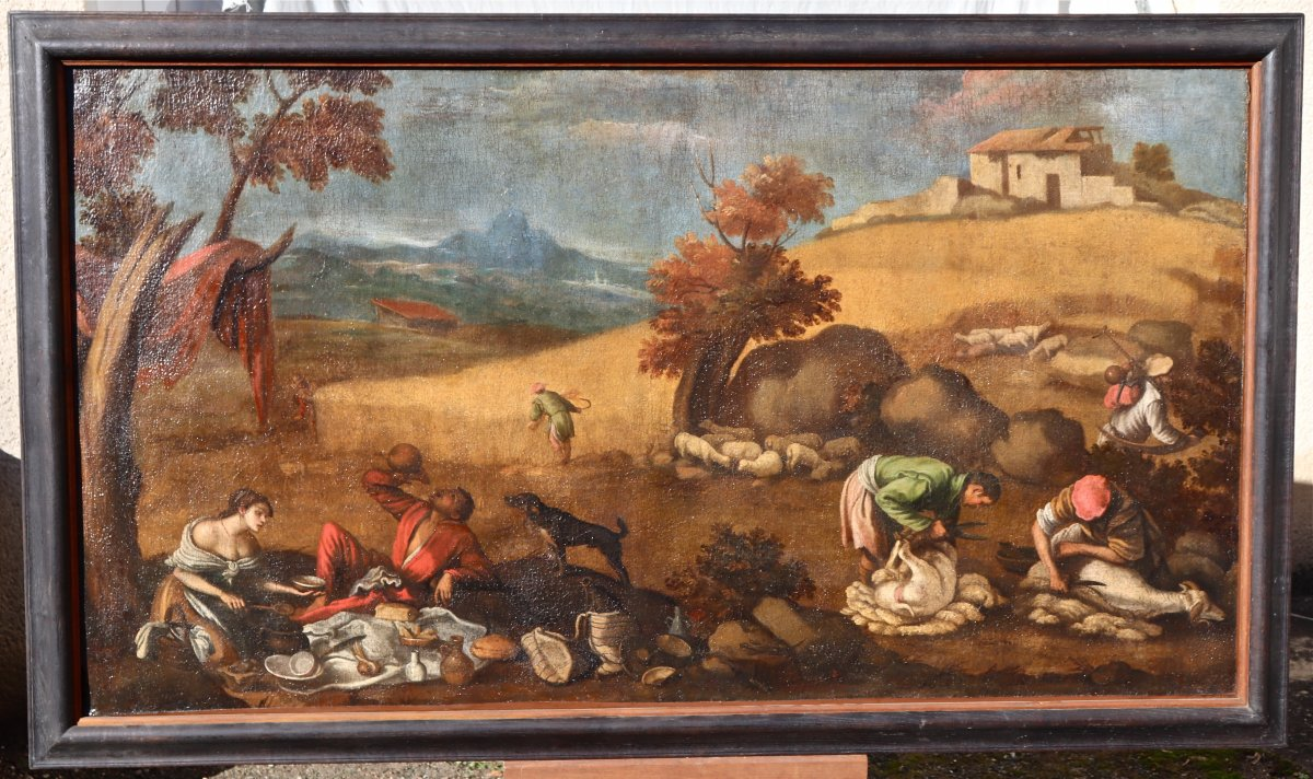 Grande Peinture XVIIème école De Francesco Bassano La Tonte Des Moutons-photo-3