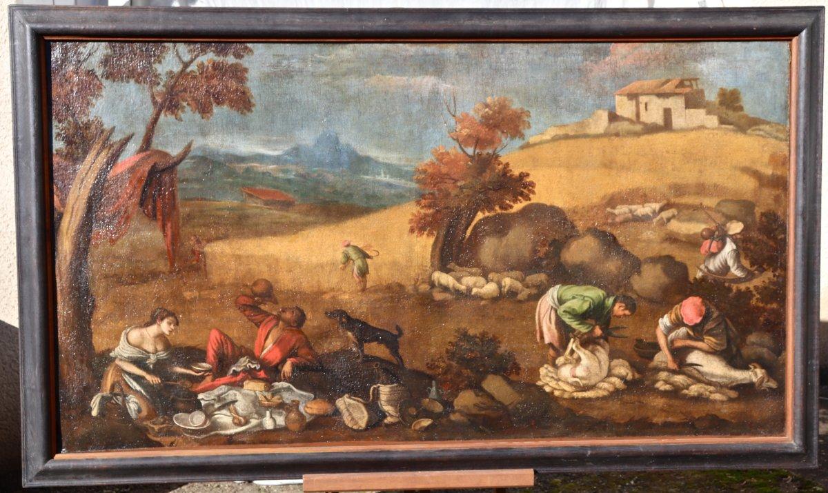 Grande Peinture XVIIème école De Francesco Bassano La Tonte Des Moutons-photo-6