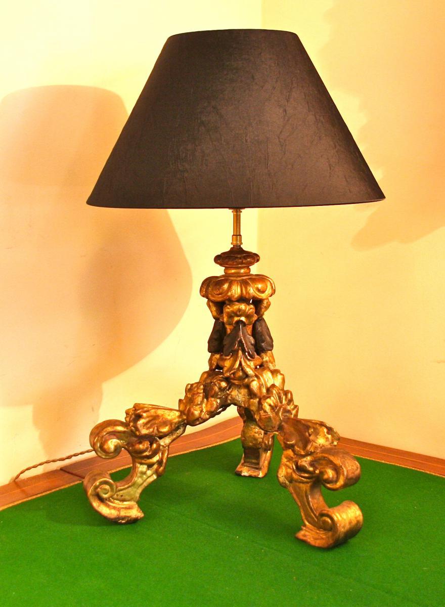 Pied De Lampe XVIIIème En Bois Doré