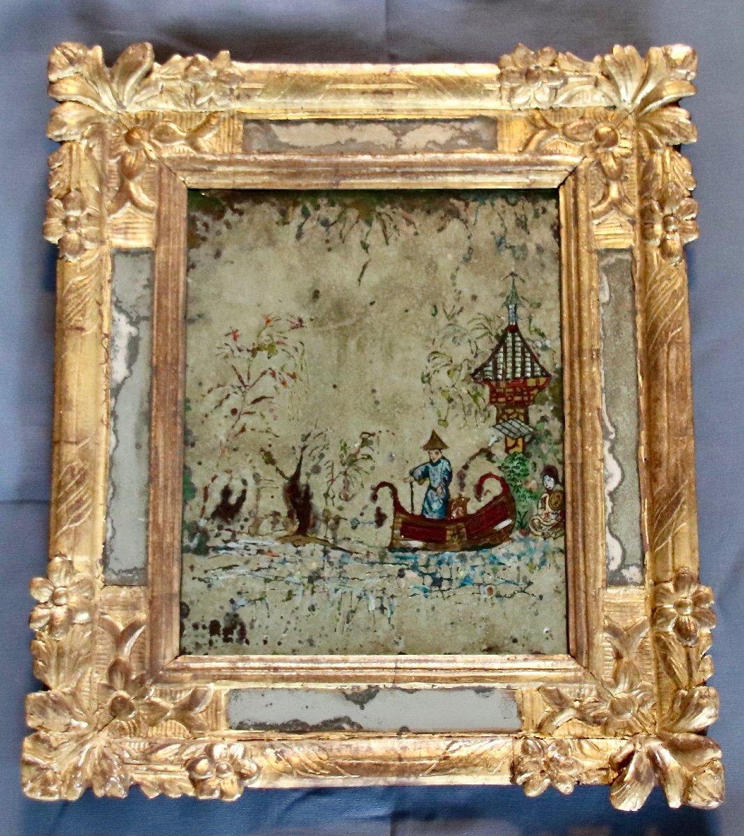 Miroir à Décor Aux Chinois à Parclose En Bois Doré XVIIIème