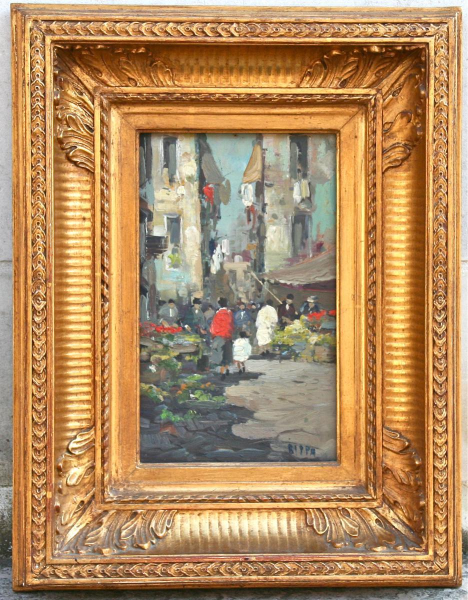 "Peinture "" Balade Au Marché"" De Rippa"