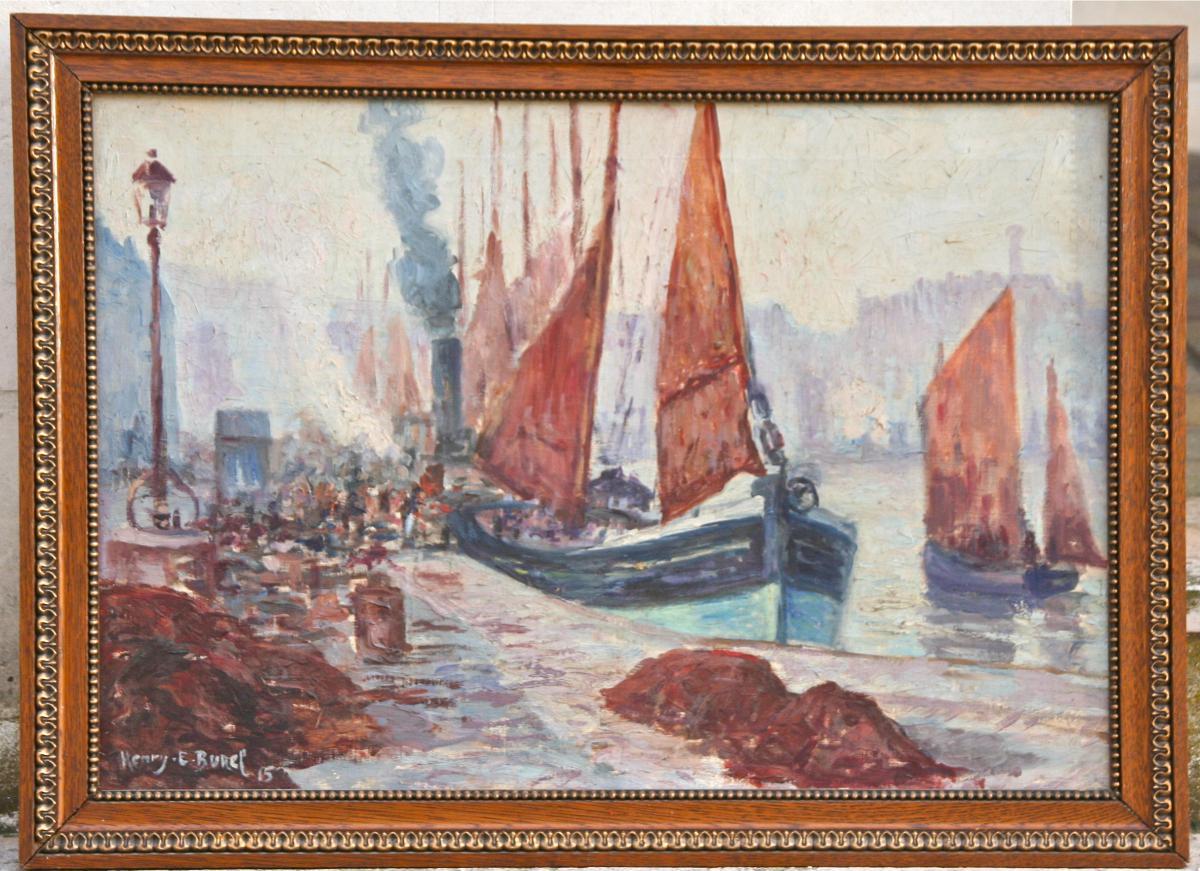 Peinture Du Port De Dieppe Par Henri Burel