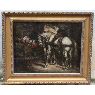"""""""le Maréchal Ferrant"""" Peinture Sur Bois Anonyme"""