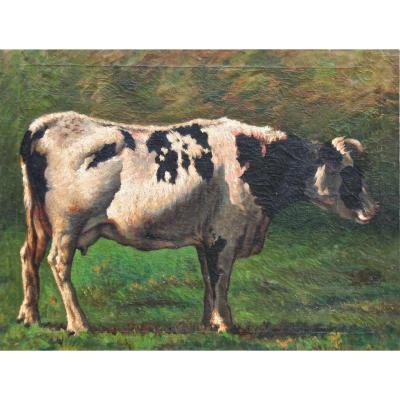 """Huile Sur Toile """"Portrait De Vache"""""""
