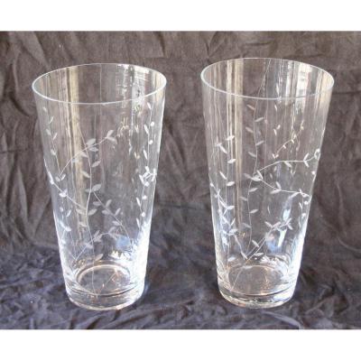 Paire De Vases En Verre