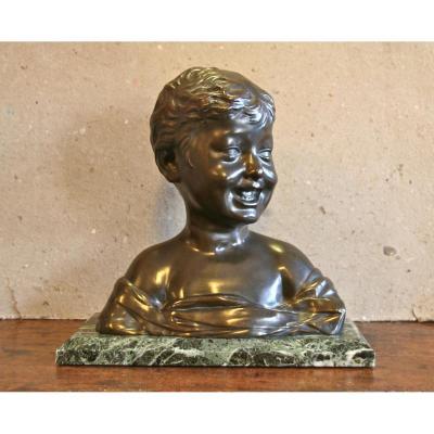 Buste d'Enfant En Bronze XIXème d'Après Settignano
