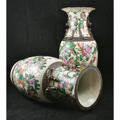 Paire De Vases En Porcelaine, Canton XIXème