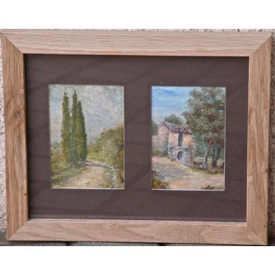 """Paire d'Encadrements """"paysage"""" De Jules Joly"""