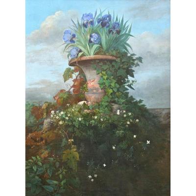 """Huile Sur Toile XIXème """"urne Aux Iris"""""""