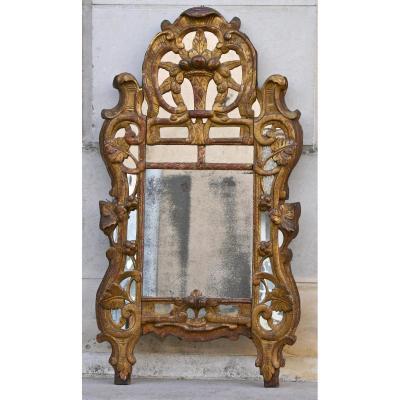 Miroir Provençal XVIIIème à Parclose En Bois Doré